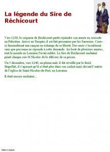 Saint Nicolas légende du sire de Réchicourt