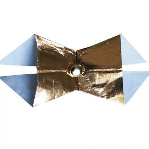 noeud en papier doré et attache parisienne