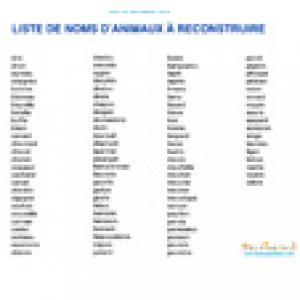 Liste nom animaux