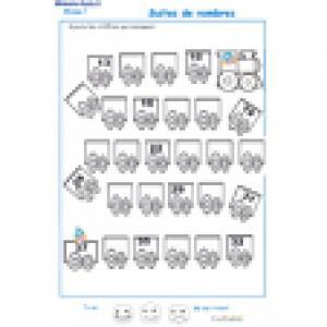 activité de numération de 13 à 32 - exercice 2 sur les wagons