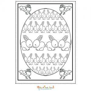 Mandala des lapins dans l'oeuf