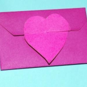 Enveloppe origami coeur