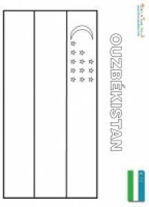 Coloriage du drapeau de l'Ouzbékistan