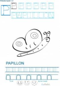 Exercice d'écriture et de graphisme : P et PAPILLON