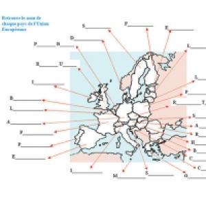 Activité pour retrouver le Nom des 25 pays de l'Europe