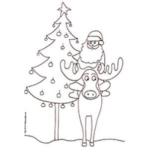 coloriage du Père Noël chevauchant un renne