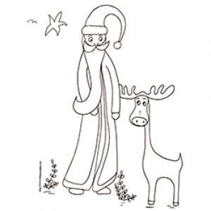 coloriage du Père Noël parlant à un renne