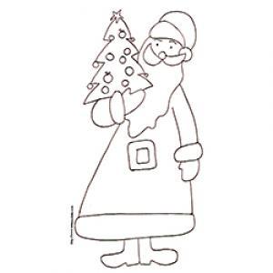 Coloriage du Père Noël portant le petit sapin