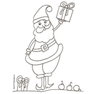 coloriage du Père Noël au petit cadeau