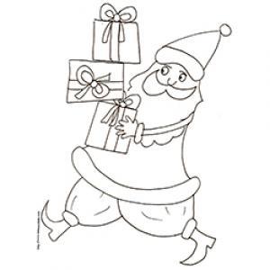 Coloriage du Père Noël courant avec les cadeaux