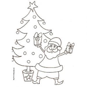 coloriage du Père Noël dansant avec les cadeaux