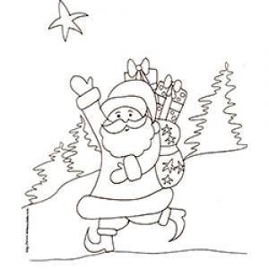 coloriage du Père Noël portant sa hotte