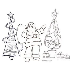 Coloriage du Père Noël avec les 2 sapins