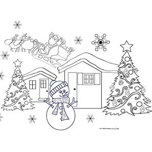 Coloriage du traîneau du Père Noël qui s'envolle