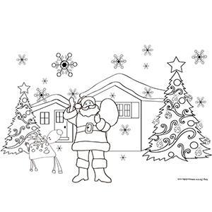 Coloriage du Père Noël dans son village