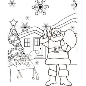 Coloriage du Père Noël avec un renne devant le chalet
