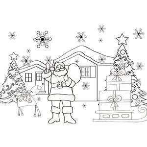 Coloriage du Père Noël et ses cadeaux sur le départ