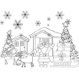 Coloriage du Père Noël prêt à partir avec son traîneau et ses cadeaux