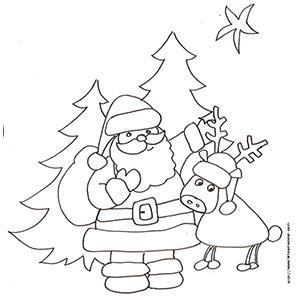 Coloriage du Père Noël et son renne devant les sapins