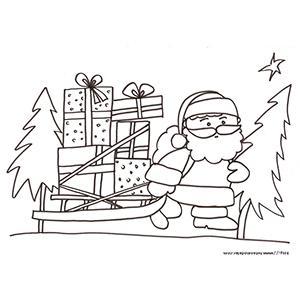 Coloriage du Père Noël qui traîne ses cadeaux