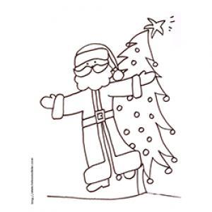 Coloriage du Père Noël les bras en croix devant le sapin