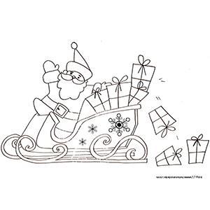 Coloriage du Père Noël en traineau qui perd des cadeaux