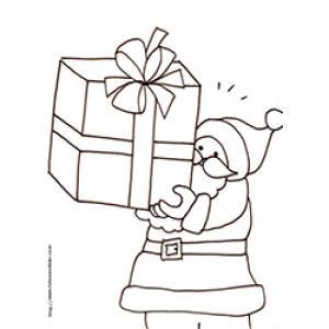 Coloriage du Père Noël qui porte un énorme cadeau