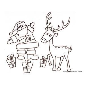 Coloriage du Père Noël, du renne et des cadeaux