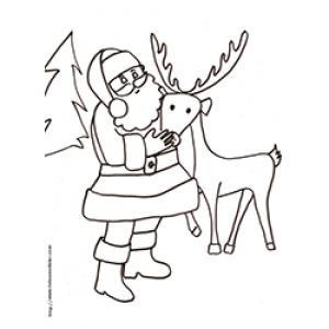 Coloriage du Père Noël qui caresse son renne