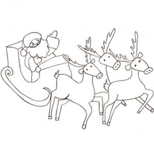 Coloriage du Père Noël tiré par ses rennes