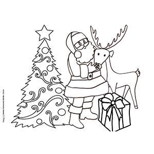 Coloriage du Père Noël et son renne devant le sapin