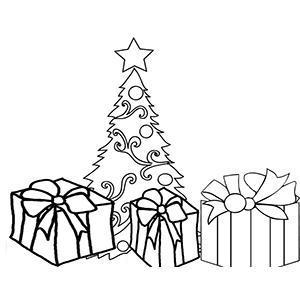 Coloriage de 3 cadeaux devant le sapin