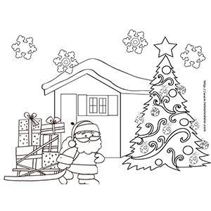 Coloriage du Père Noël préparant son départ