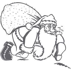 Coloriage du Père Noël portant un très gros sac