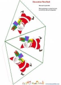 Décoration Père Noël en papier à imprimer
