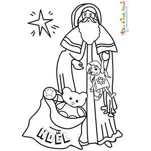 Père Noël en robe avec son sac de jouets