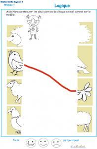 Exercice de logique : puzzle 8 assembler deux parties d'une image