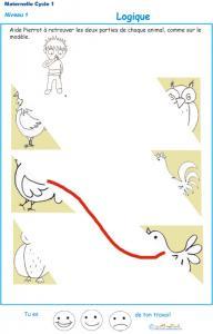 Exercice de logique : puzzle 9 assembler deux parties d'une image