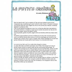 Conte la Petite Sirène à imprimer
