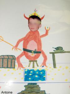 Autoportrait caricature d'enfant