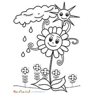 """Comme dit le proverbe """"après la pluie le beau temps"""" voici un coloriage qui illustre le proverbe et ce qui se passe au printemps lorsque le soleil n'est jamais loin après la pluie."""
