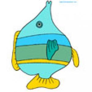 Poisson bleu a bande jaune, une image poisson