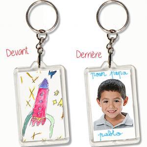 Porte-clés dessin d'enfant, porte-clés pour la fête des pères