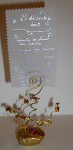 Porte-menu de Noël doré