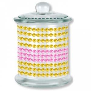 Pot en verre décoré de cabochons autocollants