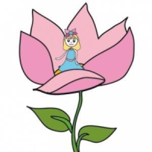 Poucette sort d'une fleur