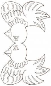 modèle de tête de poule de Pâques à colorier