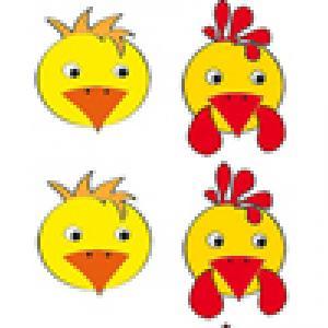 planche de Têtes de poussins et têtes de poules