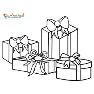 Quatre paquets cadeaux à colorier