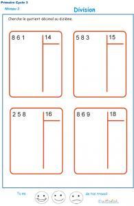 Calculer le quotient décimal au dizième d'une division : exercice 4